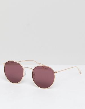 Weekday Солнцезащитные очки с золотистой оправой и розовыми стеклами. Цвет: золотой
