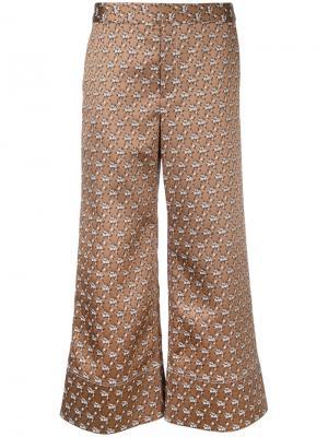 Жаккардовые брюки с цветочным узором Irene. Цвет: коричневый
