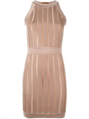 Платье без рукавов в рубчик Balmain. Цвет: коричневый
