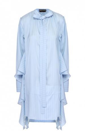 Шелковое мини-платье в полоску с оборками Rochas. Цвет: голубой