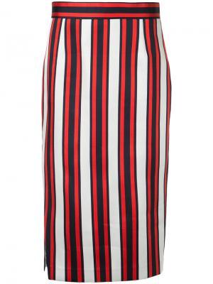 Полосатая юбка-карандаш Smythe. Цвет: многоцветный