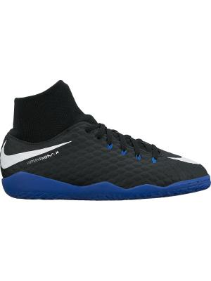 Бутсы JR HYPERVENOMX PHELON 3 DF IC Nike. Цвет: черный, белый, синий