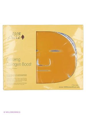 100% Pure Набор восстанавливающих коллагеновых масок: Женьшень, 5 шт по 60 гр. Цвет: оранжевый