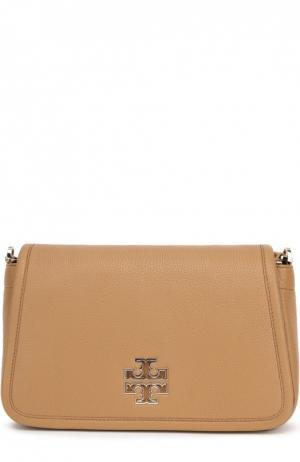 Кожаная сумка  Britten с клапаном Tory Burch. Цвет: светло-коричневый