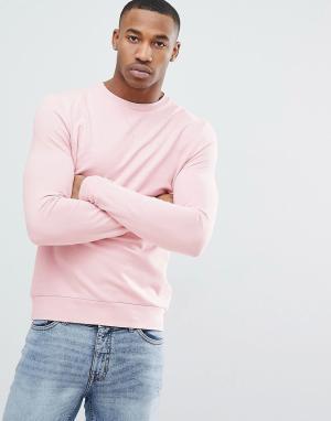 ASOS Светло-розовый обтягивающий свитшот. Цвет: розовый