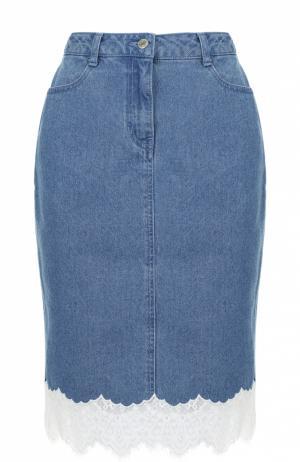 Джинсовая юбка-карандаш с кружевной отделкой Steve J & Yoni P. Цвет: голубой