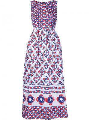Расклешенное платье с орнаментом Vika Gazinskaya. Цвет: синий