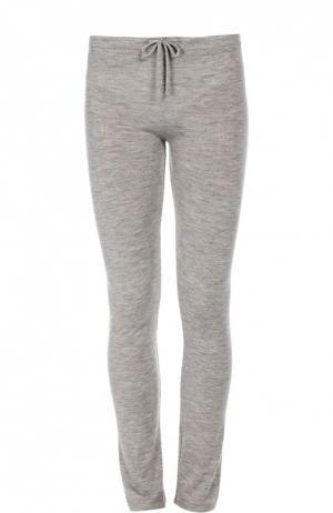 Кашемировые брюки с эластичным поясом и накладными карманами Back Label. Цвет: серый