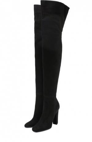Замшевые ботфорты на устойчивом каблуке Giuseppe Zanotti Design. Цвет: черный