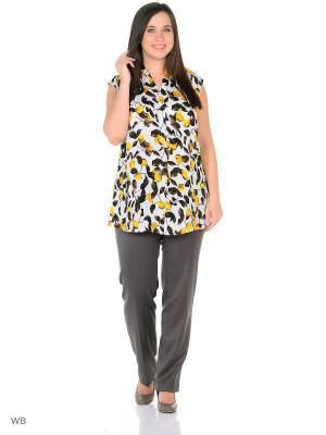 Блузка AMAZONE. Цвет: желтый, белый