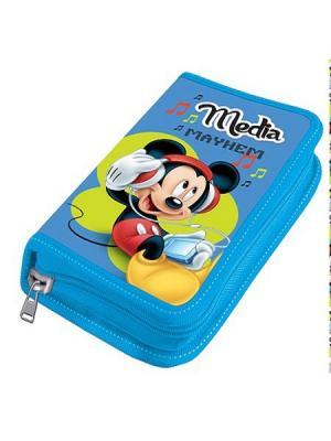 Пенал 1 отделение средний Disney Микки Маус без наполнения. Цвет: черный