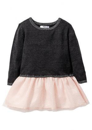 Платье. Цвет: темно-серый меланжевый/светло-персиковый