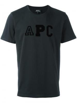 Футболка с принтом-логотипом A.P.C.. Цвет: синий