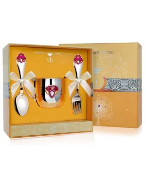 Набор Принцесса 3 Предмета (Кружка+Вилка+Ложка)+Футляр АргентА. Цвет: серебристый