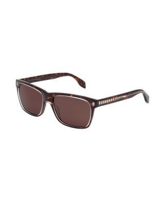 Солнцезащитные очки Alexander McQueen. Цвет: коричневый, темно-коричневый