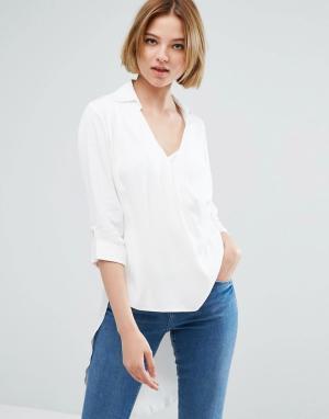 Closet London Рубашка с запахом и рукавами 3/4. Цвет: белый