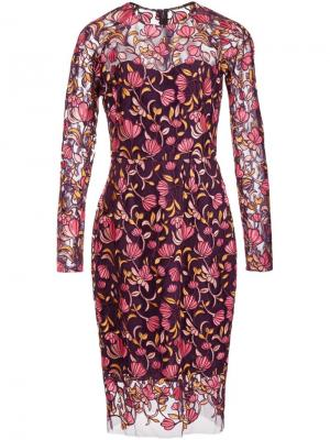 Платье с вышивкой Lela Rose. Цвет: розовый и фиолетовый