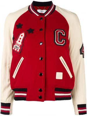 Спортивная куртка-бомбер Coach. Цвет: красный