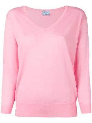 Джемпер с V-образным вырезом Prada. Цвет: розовый и фиолетовый