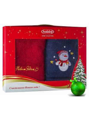 Махровое полотенце в коробке 50х90*2 Новый год, V12 HOBBY HOME COLLECTION. Цвет: синий, красный