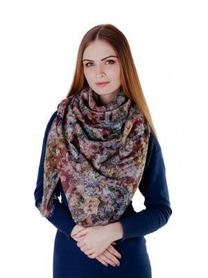 Платок большой Песочные розы Le Motif Couture. Цвет: коричневый, желтый, фиолетовый