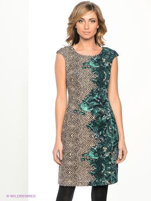Платье МадаМ Т. Цвет: зеленый, бежевый, темно-синий