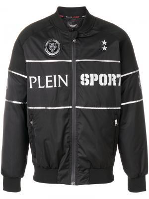 Куртка-бомбер с принтом слогана Plein Sport. Цвет: чёрный