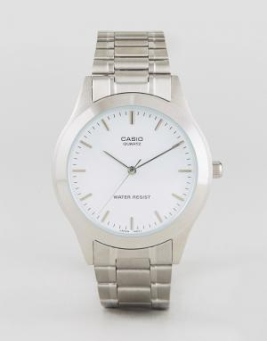 Casio Серебристые часы с браслетом из нержавеющей стали MTP1128A-7A. Цвет: серебряный
