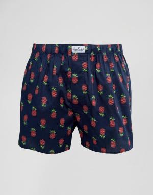 Happy Socks Тканые боксеры с ананасами. Цвет: синий