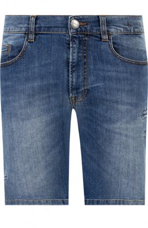 Джинсовые шорты с потертостями Dirk Bikkembergs. Цвет: темно-синий
