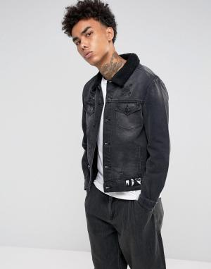 Cayler & Sons Черная джинсовая куртка с подкладкой из искусственного меха S. Цвет: черный