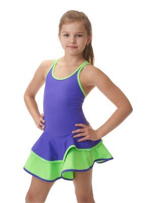 Гимнастический купальник EMDI. Цвет: салатовый, фиолетовый