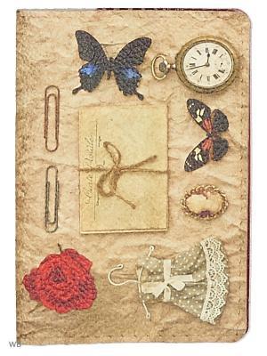 Обложка на паспорт с кожаной вставкой Платьице бабочкой Eshemoda. Цвет: бордовый