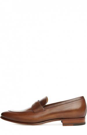 Кожаные лоферы с перемычкой A. Testoni. Цвет: коричневый