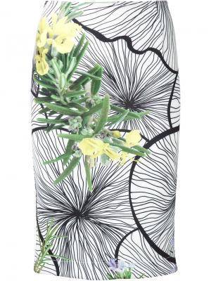 Юбка-карандаш  с цветочным принтом Yigal Azrouel. Цвет: белый