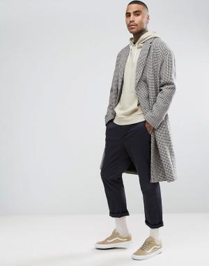 ASOS Пальто с заниженными плечевыми швами из клетчатой ткани добавлением. Цвет: коричневый