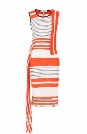 Платье в контрастную полоску с лентами MSGM. Цвет: оранжевый