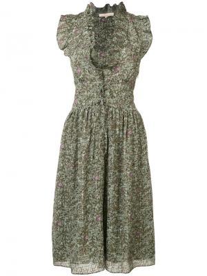 Sleeveless frill leaf dress Vanessa Bruno. Цвет: зелёный