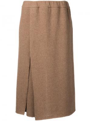 Брюки-юбка с завышенной талией Osakentaro. Цвет: коричневый