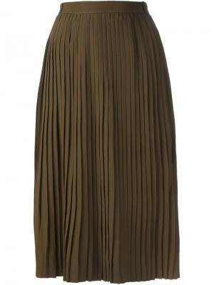 Юбка с плиссировкой Jean Louis Scherrer Vintage. Цвет: зелёный