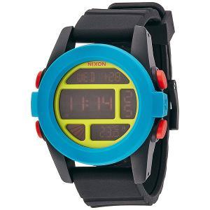 Часы  Unit Black/Blue/Chartreuse Nixon. Цвет: черный,голубой