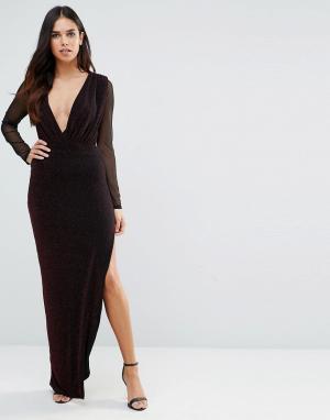 Hedonia Платье макси с V-образным вырезом и прозрачными рукавами. Цвет: красный