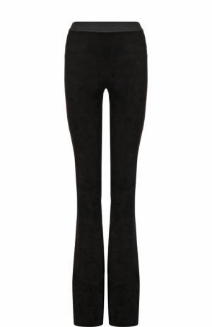 Замшевые расклешенные брюки с контрастным поясом DROMe. Цвет: черный