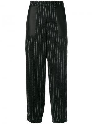 Укороченные брюки в полоску Aalto. Цвет: чёрный