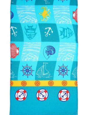 Полотенце вафельное набивное, 40х70 см, набор 3 штуки Радужки. Цвет: синий