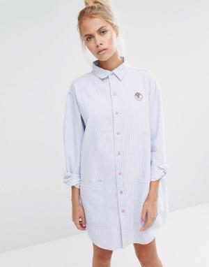 Lazy Oaf Платье-рубашка кроя оversize с клубникой. Цвет: синий