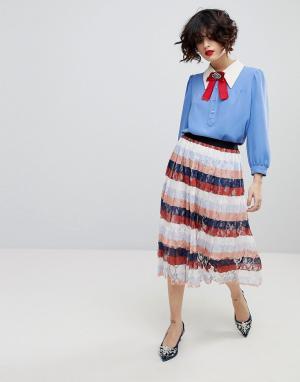 Essentiel Antwerp Плиссированная юбка миди Palms. Цвет: розовый