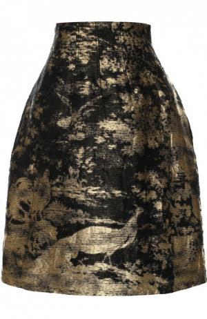 Мини-юбка с металлизированной отделкой Oscar de la Renta. Цвет: золотой