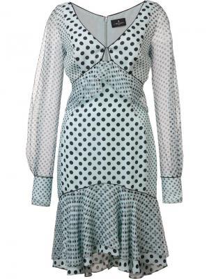 Платье в горошек с прозрачными рукавами J. Mendel. Цвет: синий