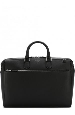 Кожаная сумка для ноутбука с плечевым ремнем Serapian. Цвет: черный
